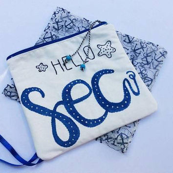 White canvas pouch bag, hand painted  with word sea, hand embroidered  ,accessories pouch, handmade pouch, travel accessories organizer