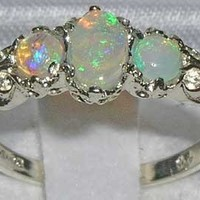 Ladies Solid Sterling Silver Natural Fiery Opal English Victorian Trilogy Ring - Size 4.25 - Finger Sizes 4 to 12 Available