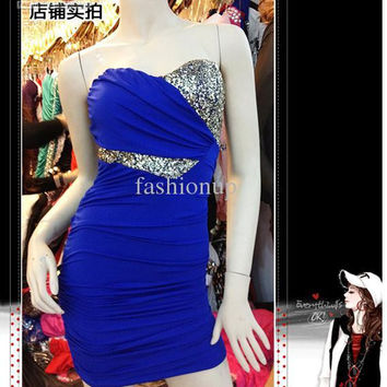 Hot 2013 Free Shipping Fashion Sexy Silk Sleeveless Off Shoulder V-neck Bling Patchwork Designer Cocktail Party Women Dresses XH8-614