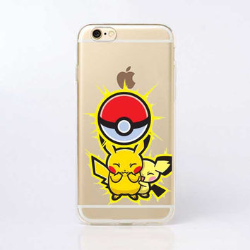 Pokemons PokeBall Transparent Soft Silicone TPU Print Case For iPhone SE 5 5S 6 6S 6Plus Edge Lovely Poke Ball phone Cover