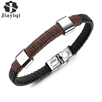 Jiayiqi 2017 Vintage Woven Black Leather Rope Bracelet Braided Wristband Stainless Steel Clasp Punk Gift for Men Jewelry 21 cm
