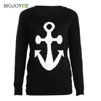 Fahion Long Sleeve Sweatershirt Women Anchor Print Blends Knitted Pullover Casual Black Warm Hoodie Women Tops  SN9