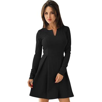 Black Long Sleeve V Neck Pleated Skater Dress