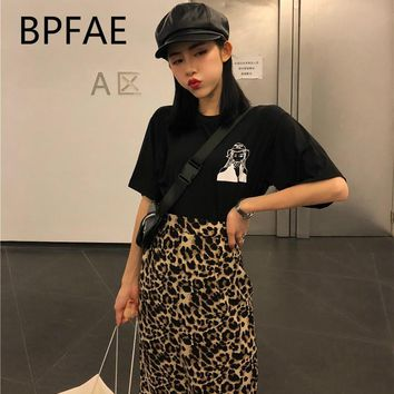 2018 New Women Harajuku Vintage Leopard Print  Side Slit  One-Step Mid Long Skirt Sexy Bodycon Pencil Skirts Plus Size 4XL