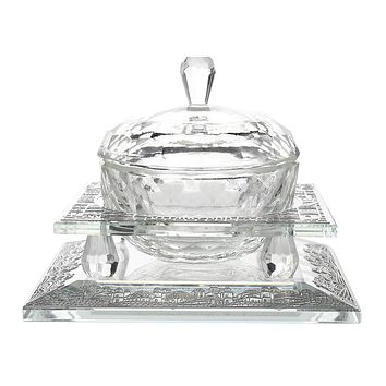 Crystal  Dish With Silver Jerusalem 2 1/4x214""