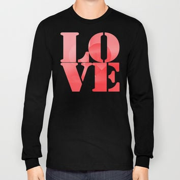 Danish Heart Love Long Sleeve T-shirts by Gréta Thórsdóttir #love #heart #girly #Christmas #red #scarlet #ombre #pattern #unisex