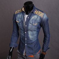 Denim Shirt Men Long Sleeve Blouse Korean Slim Vintage Rinsed Denim Jacket [6528874883]