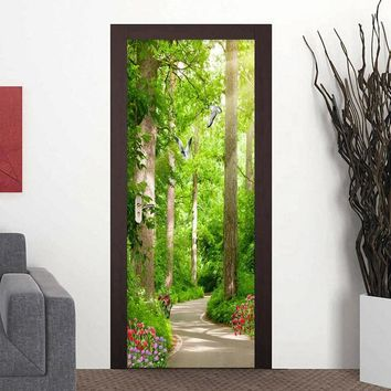 3D Wallpaper Modern Forest Sunshine Path Landscape Photo Murals Living Room Bedroom Door Sticker PVC Self Adhesive Wall Paper 3D