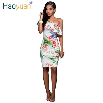 Women Sexy Dress 2017 Flower Floral Print One-Shoulder Knee Length Summer Party Dresses Women Clothing Ruffle Bodycon Dress Robe