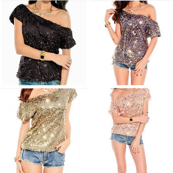 Fashion Oblique Shoulder Short Sleeve Bat Sleeve Sequin T-shirt Tops