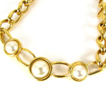 Vintage Chunky Gold Collar Necklace (Designer Signed NAPIER, White Pearls, Chunky Gold Chain, 1970s Modern Costume Jewelry)