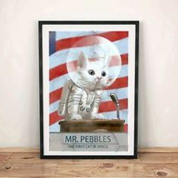 Fallout 4 Art Poster Mr Pebbles First Cat in Space Video Game Gift Poster Pipboy