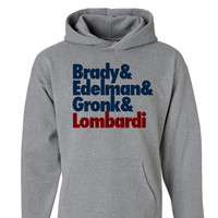 New England Patriots Super Bowl 49 Champions Hoodie   Brady And Edelman and Gronk and Lombardi New England Patriots Superbowl Hoodie