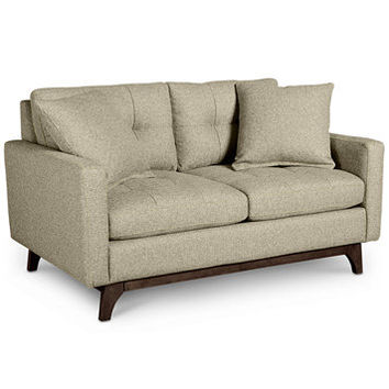 Nari Tufted Back Loveseat with 2 Toss Pillows, Created for Macy's | macys.com