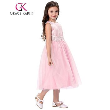Grace Karin 2017 Tank Pageant Dresses For Little Girls Ivory Pink Sleeveless Crinoline Flower Girl Dress For First Communion