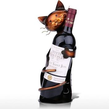 The Hugging Kitty Cat Wine Metal Wine Rack Home Decor