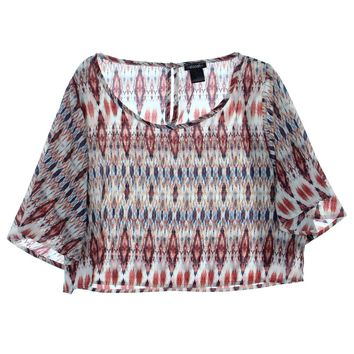 Stoosh Womens Juniors Aztec Print Flutter Sleeve Crop Top