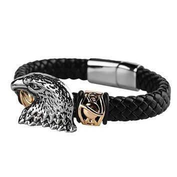 Natural Black Woven Braided Men Bracelet Eagle Head Punk Charm Bracelets Bangles Skeleton Animal Genuine Leather Male Wristband