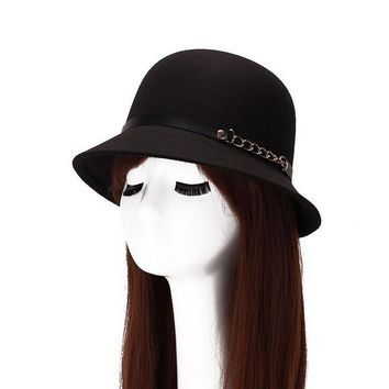 2017 Fashion Women Artificial Wool Fedoras Hats Autumn And Winter Cotton Personality Metal Chain Bucket Brand Hat 6 Colors 8109