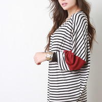 Striped Dolman Sleeve Tunic Dress