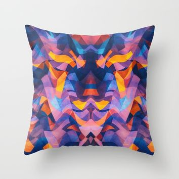 Abstract Surreal Chaos theory in Modern Blue / Orange Throw Pillow by Badbugs_art | Society6