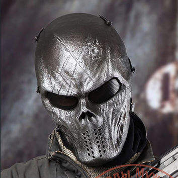 Outdoor Wargame Tactical Mask Iron Full Face Airsoft Paintball CS Army Mask Halloween Party Cosplay Horror Gost Skull Mask