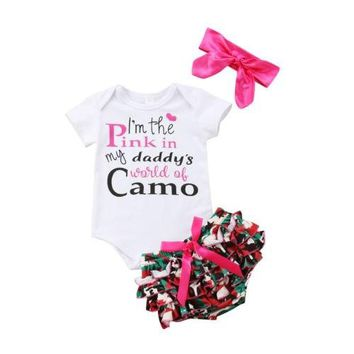 I'm The Pink In My Daddy's World of Camo 3PC Outfit