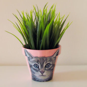 Cat flower pot, cat portrait, cat painting, hand painted flower pot, pet portrait
