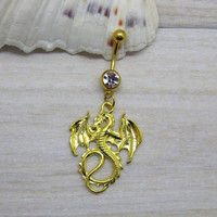 Gold dragon belly button ring, dragon belly button jewelry, dragon navel jewelry, belly button ring jewelry,unique gift