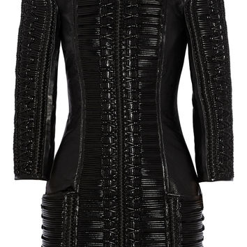 Balmain - Stitched wool-paneled leather mini dress