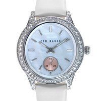 Women's Ted Baker London 'Vintage Glam' Crystal Bezel Leather Strap Watch, 34mm - White/ Silver