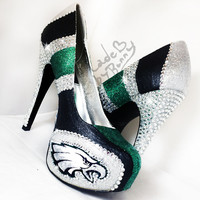 Philadephia Eagles DESIGN FOR HEELS | Custom Glitter & Crystal Rhinestone Bedazzled Sports Shoes | nfl | football | game day