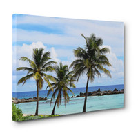 Playa Chen Rio - Gallery Wrap Canvas, Beach Palm Trees Landscape, Blue & Green Boho Chic Decor Tropical Accent. 8x10 11x14 16x20 20x24 24x36