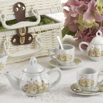 Childrens Porcelain Girls Tea Set - Bunny in Wicker Style Basket
