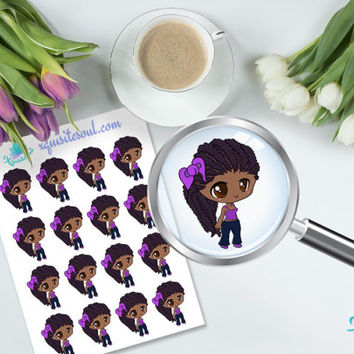 Keke Black Girl Erin Condren Vertical Planner Sticker/ Appointment Sticker Set/ ECLP Kawaii Sticker Sheet/ Cute Life Planner Accessories