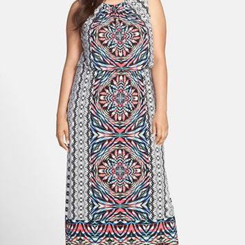 Plus Size Women's London Times 'Gipsy Floral' Print Blouson Maxi Dress,
