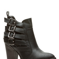 Black Faux Leather Buckled Style Chunky Booties