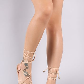 Liliana Vegan Suede Lattice Lace-Up Gladiator Flat Sandal