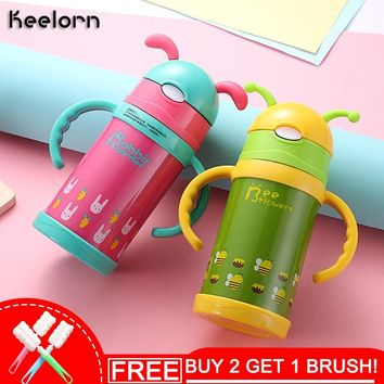 Keelorn 300ml High Quality Kids Vacuum Flasks With Silicone Straw Stainless Steel Children Thermos Mug Thermal Bottle Thermocup