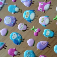 Baby blue owl Colorful owl sticker berry puffy owl stickers purple bird pink owl deco label lovely 3d owl sticker cartoon owl deco gift card