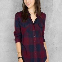 Amarillo Plaid Buttoned Blouse