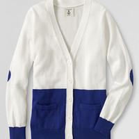Girls' Color Border Heart V-neck Cardigan from Lands' End