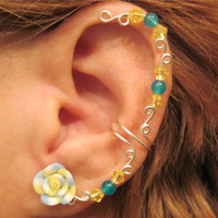"Cartilage Ear Cuff ""Carnival Rose"" Teal Blue Yellow Wedding Prom Bridal No Piercing Gemstone"