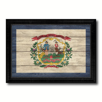 West Virginia State Flag Texture Canvas Print with Black Picture Frame Home Decor Man Cave Wall Art Collectible Decoration Artwork Gifts
