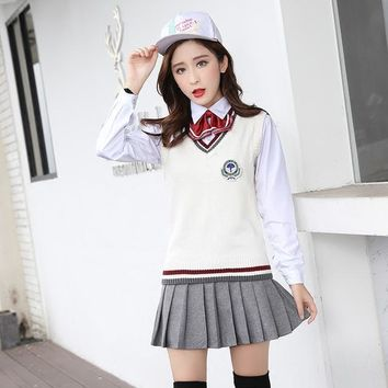 2018 summer japanese school uniform girl maid sailor navy crop top cosplay escolar japones costume side slit pleated skirt