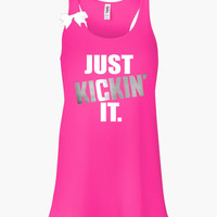 Just Kickin' It - Kickboxing Tank - Ruffles with Love - Racerback Tank - Womens Fitness - Workout Clothing - Workout Shirts with Sayings