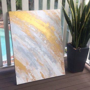 Free Shipping! Large gold painting large gold artwork large gold and silver art abstract gold artwork abstract gold painting large art