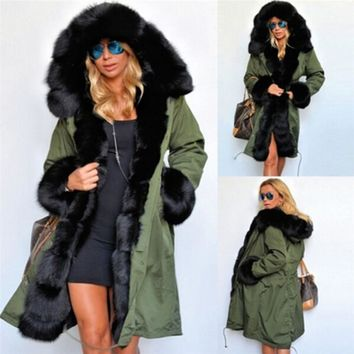 Winter Jacket Women Long Parka Coat Big Raccoon Fur Collar Hooded Parkas Thick Outerwear Stree Style