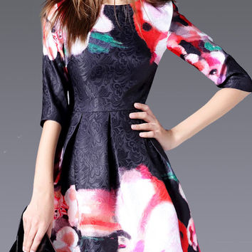 Black Jacquard Floral Print Half Sleeve Pleated Casual Dress