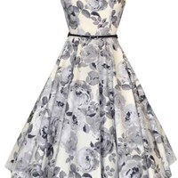 Grey Rose Hepburn Dress Retro Lady Vintage London